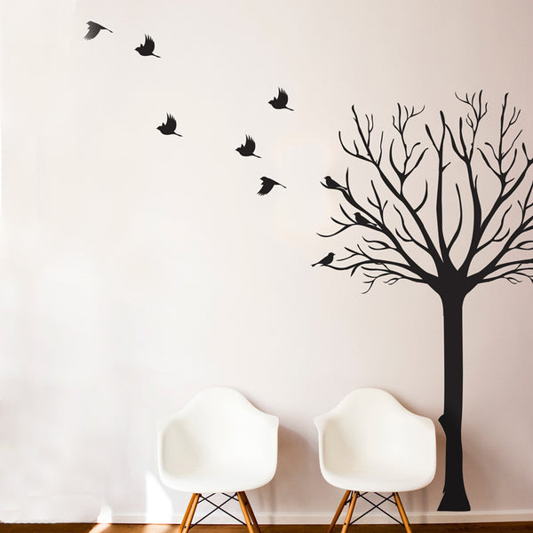 Leafless Tree Silhouette with Flock of Birds - Dana Decals - 1