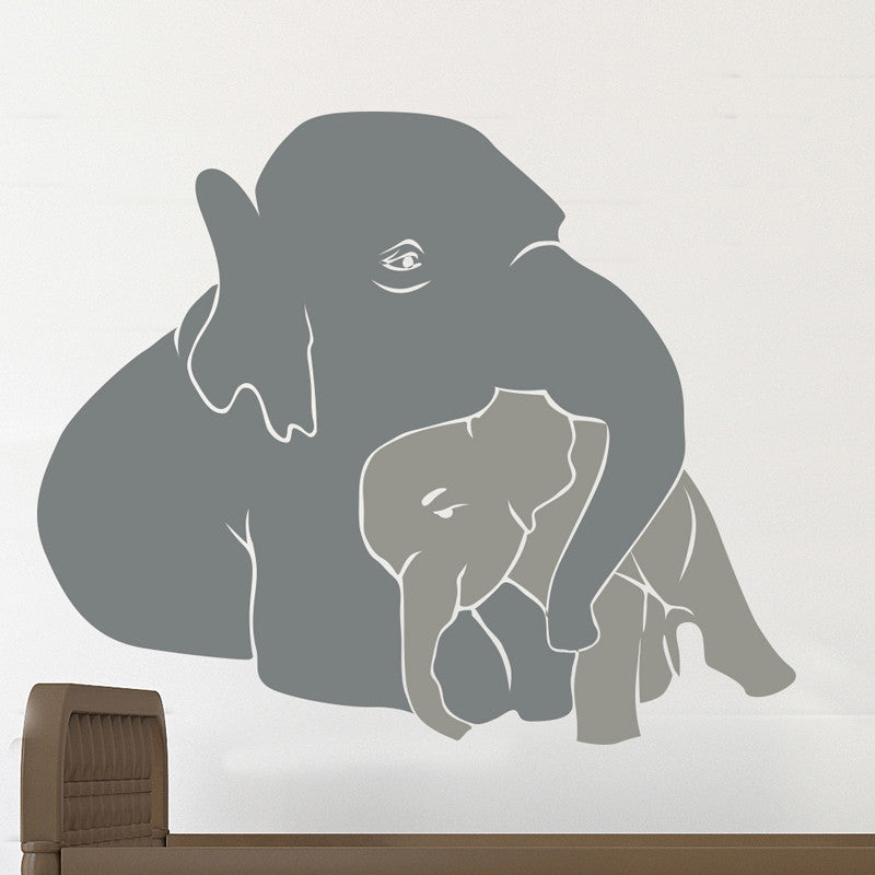 Cute Mom and Baby Elephant Hugging - Dana Decals