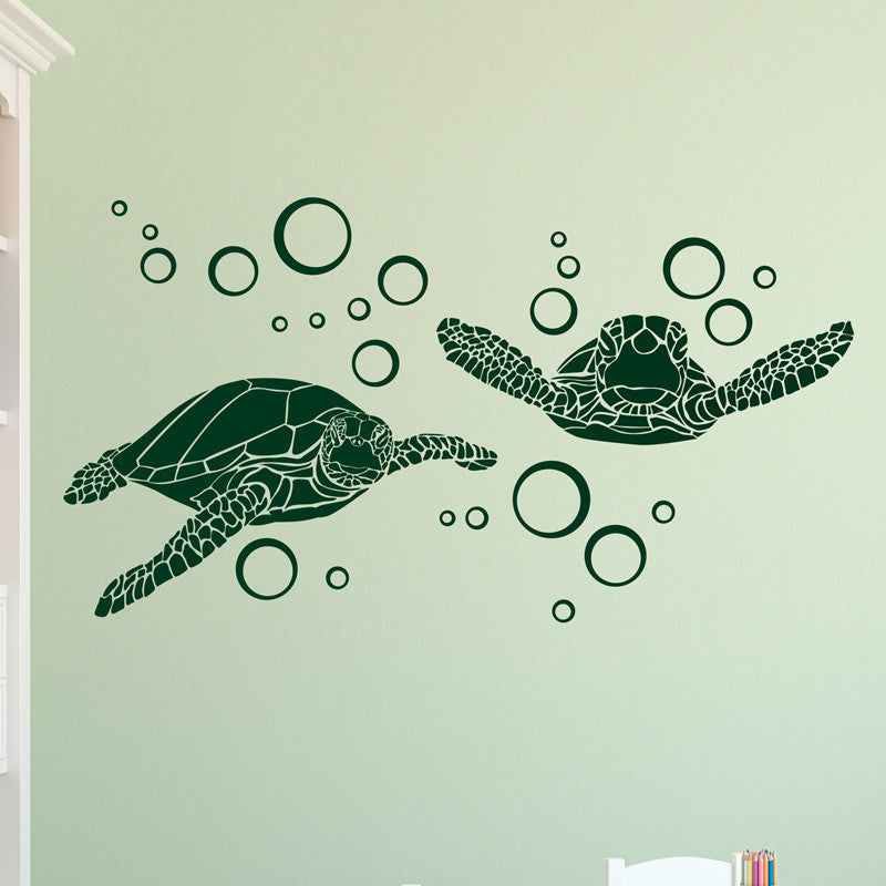 Sea Turtles with Bubbles - Dana Decals - 1