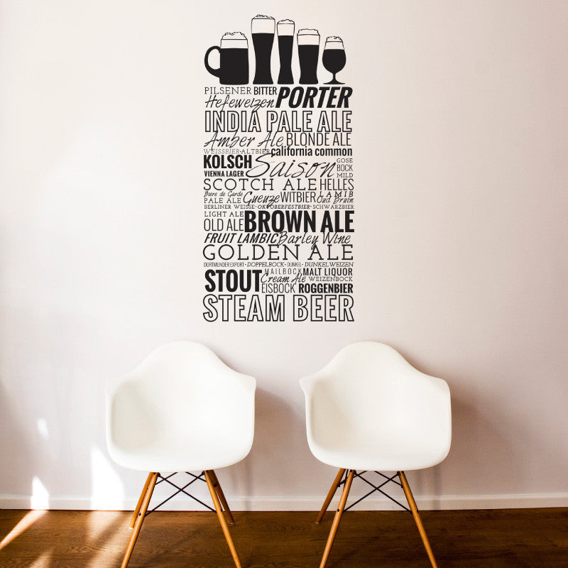 Beer List & Glasses - Dana Decals