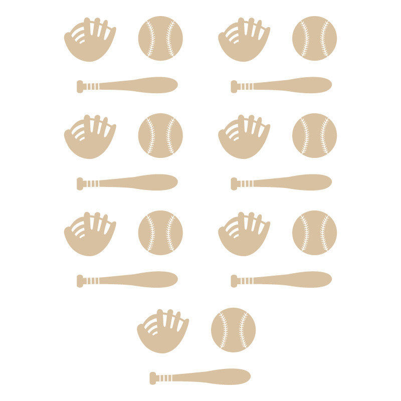 Baseball Bat Glove Icon Pattern Beige SALE - Dana Decals