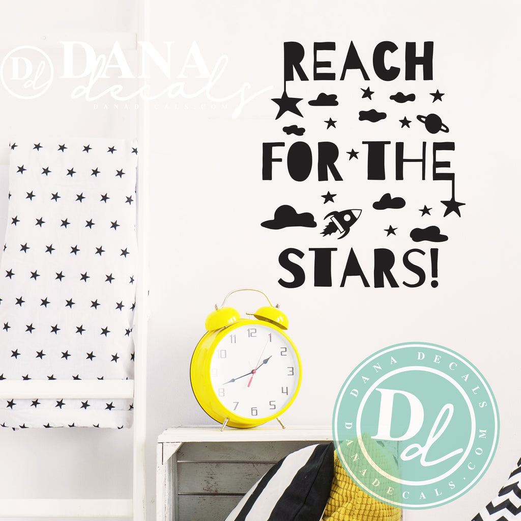 Reach for The Stars Quote and Space Scene - Dana Decals
