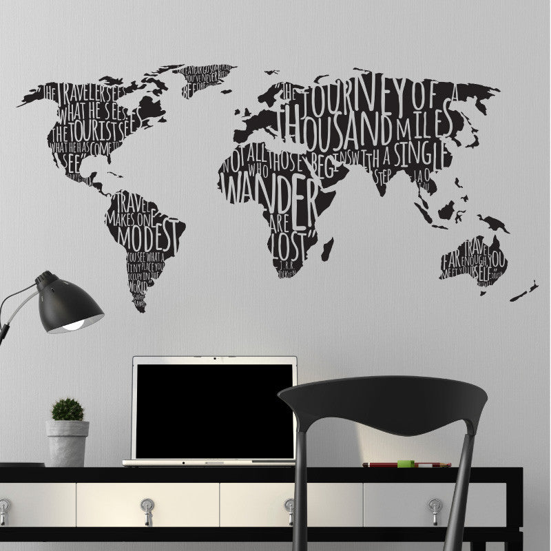 World map famous travel quotes wall decal shop decals at dana decals world map with travel quotes dana decals 1 gumiabroncs Choice Image
