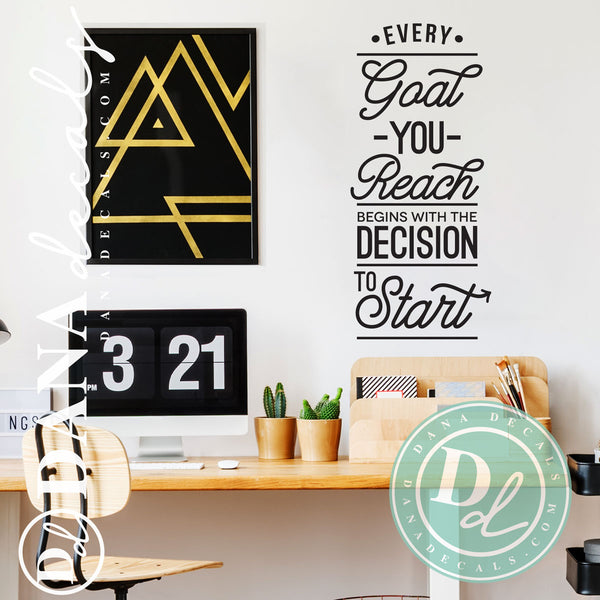 Motivational Reach your Goals Quote Wall Decal