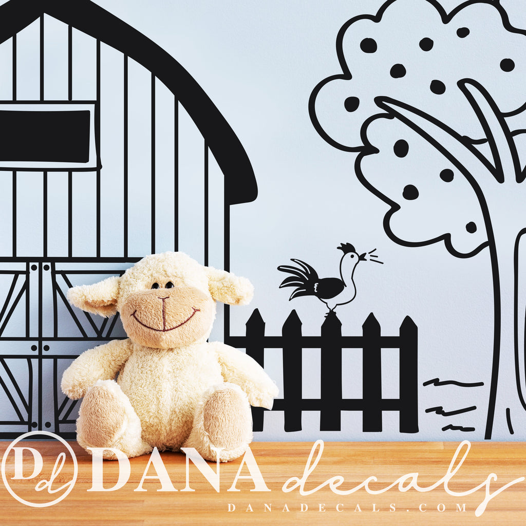 Doodled Farm Animals Country Decal Scene - Dana Decals
