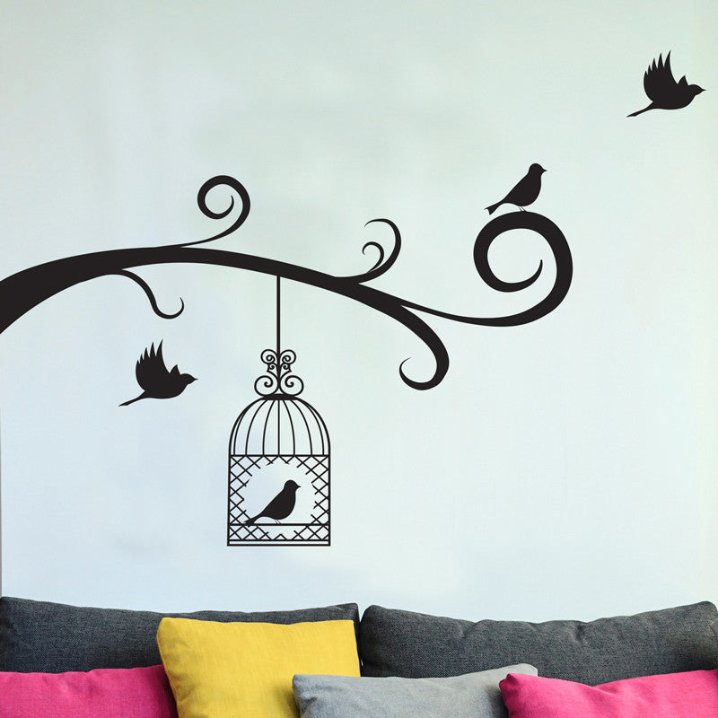 Bird Cage and Birds with Tree Branches