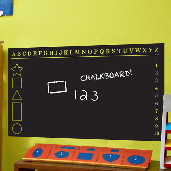 Educational Chalkboard with Alphabet Number Chart and Shapes - Dana Decals