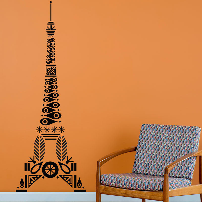 Mid Century Patterned Eiffel Tower - Dana Decals