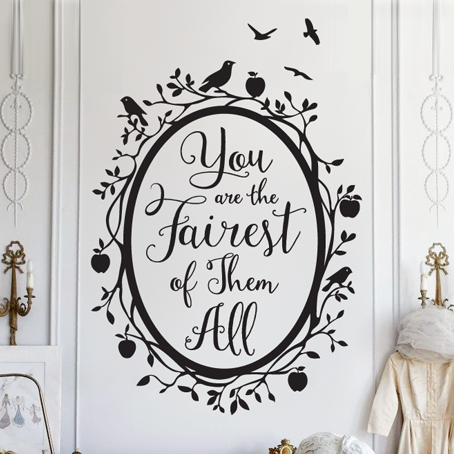 Snow White Fairest of Them All Quote in Woodland Mirror - Dana Decals - 1