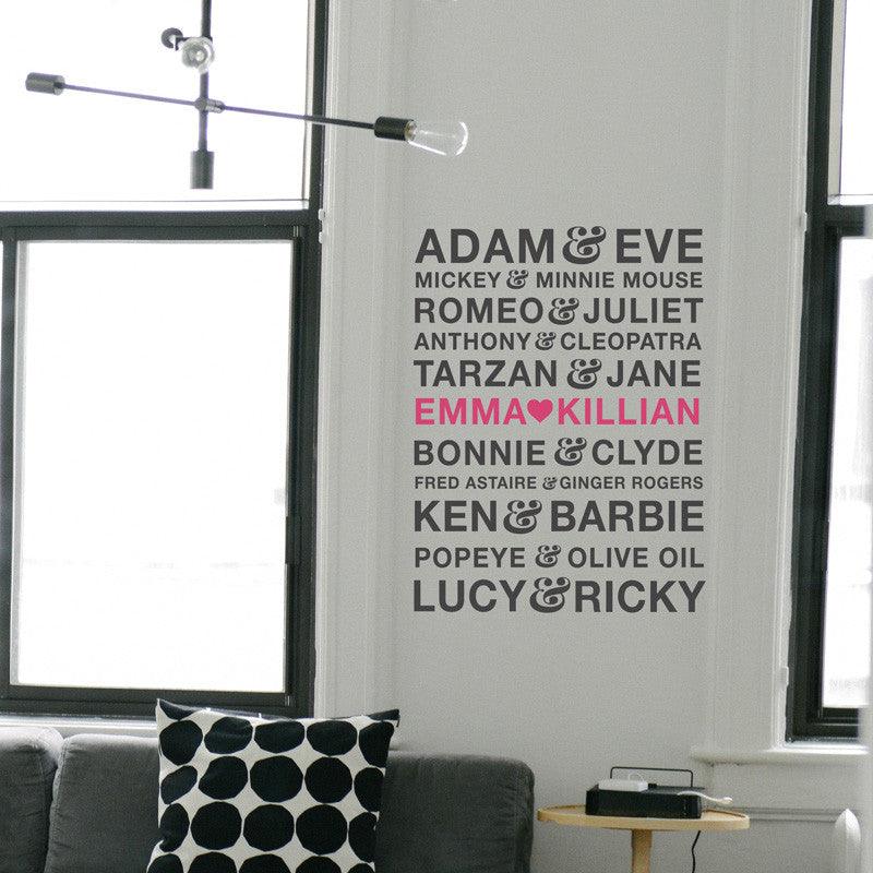 Famous Couples Names Personalized - Dana Decals