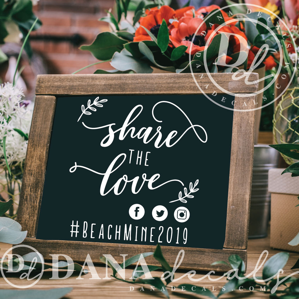 Customized Wedding Hashtag Decal - Dana Decals