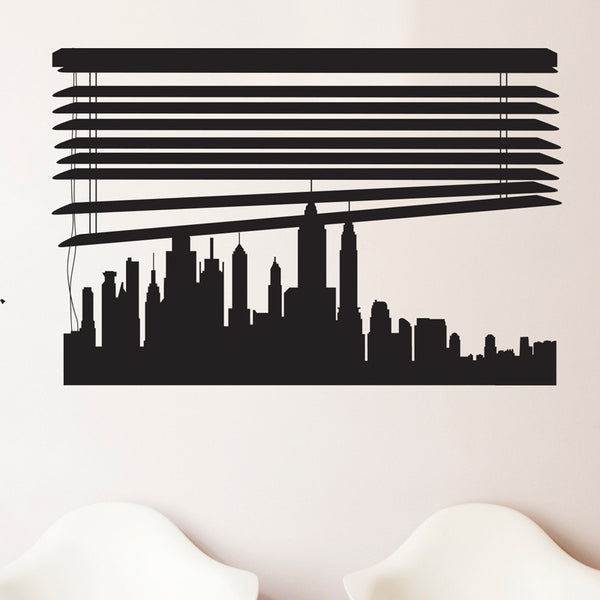 Custom Skyline under Window Blinds - Dana Decals - 1