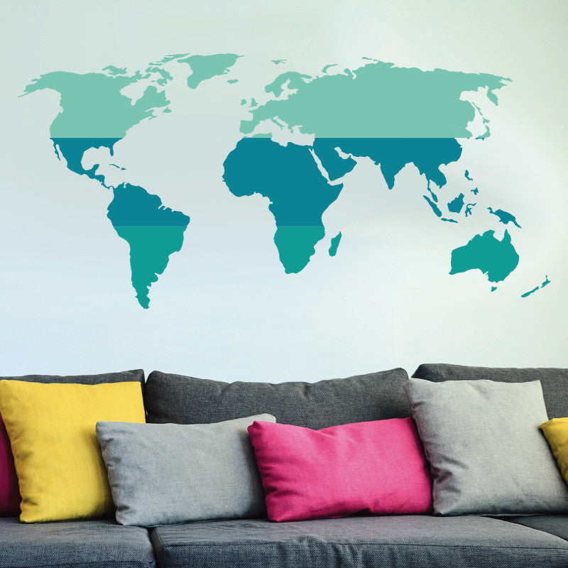 Tri-Color World Map - Dana Decals - 1