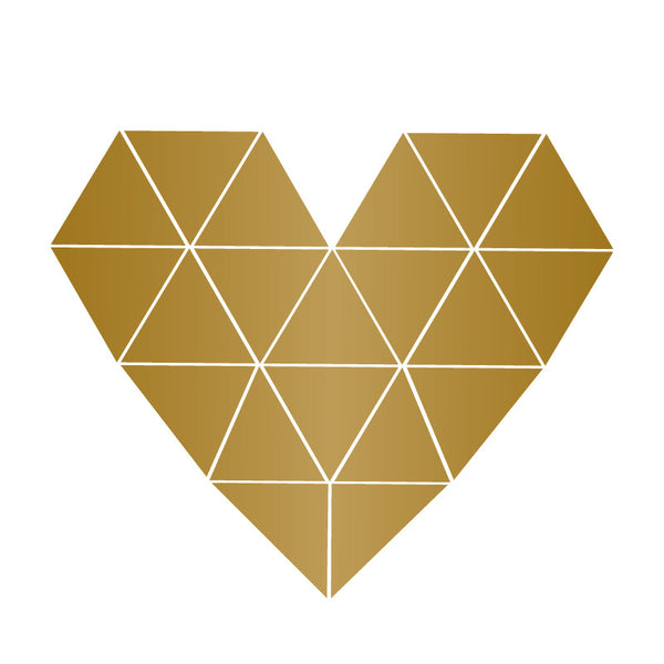 Gold Small Geometric Heart SALE ITEM - Dana Decals