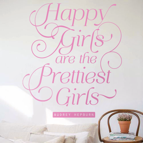 Audrey Hepburn Happy Girls Quote - Dana Decals - 1