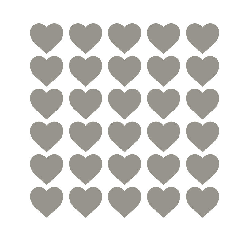 100 Tiny Middle Gray Hearts Pattern SALE - Dana Decals