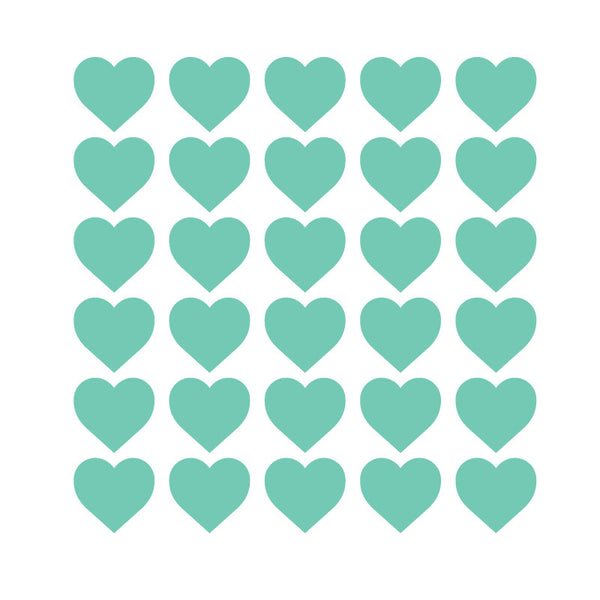 100 Tiny Mint Hearts Pattern SALE - Dana Decals
