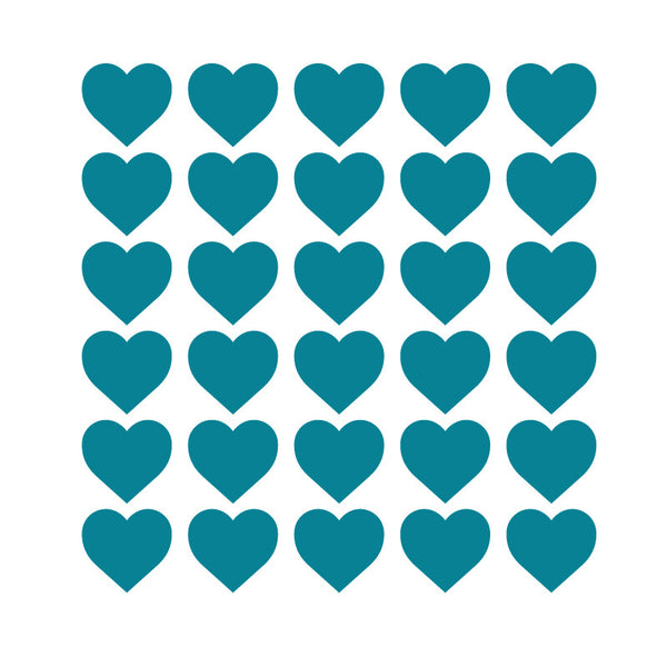 100 Tiny Teal Hearts Pattern SALE - Dana Decals