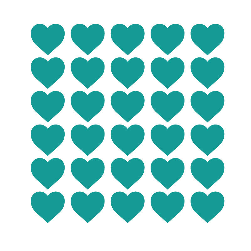 100 Tiny Turquoise Hearts Pattern SALE - Dana Decals