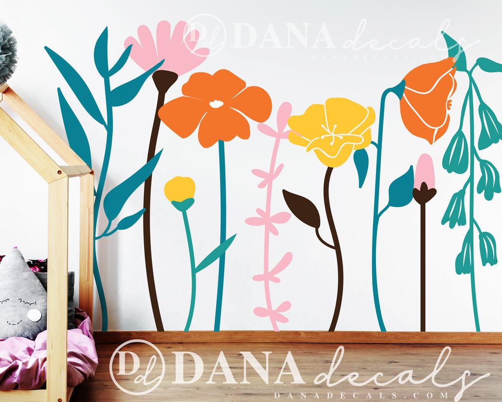 Floral Whimsical Multi-Colored Vinyl Wall Decals