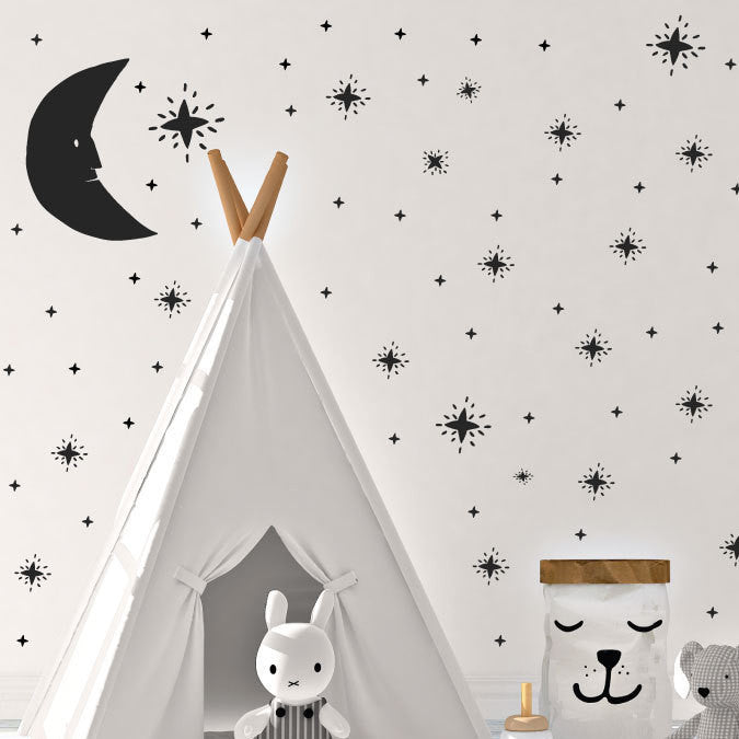 Hand-drawn Moon & Stars Mural - Dana Decals - 1