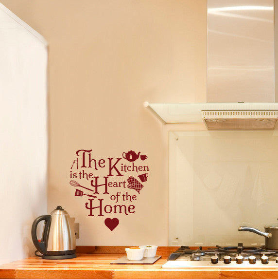 Kitchen Heart Home Icons Quote - Dana Decals