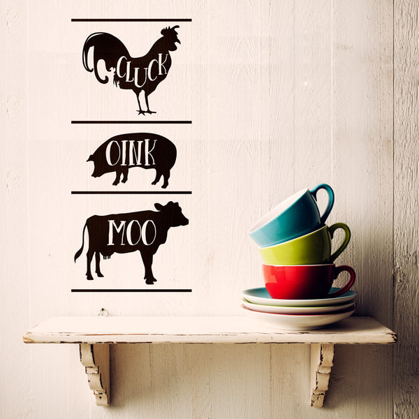 Cluck Oink Moo Farm Animal Sign - Dana Decals