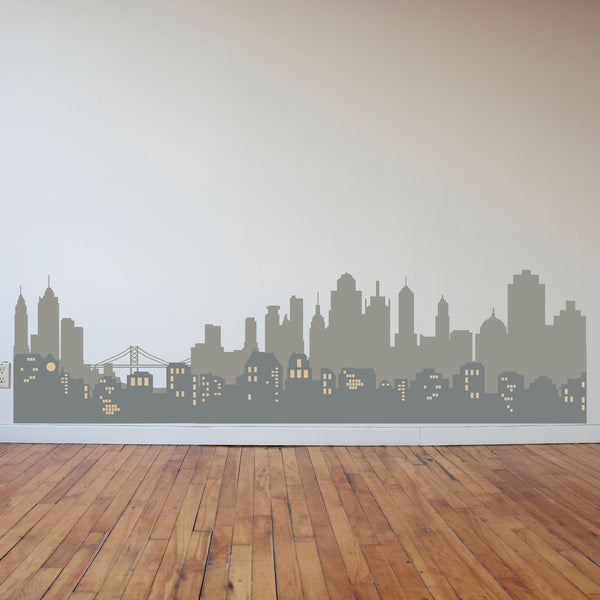 Layered City Skyline Silhouette With City Lights Dana Decals