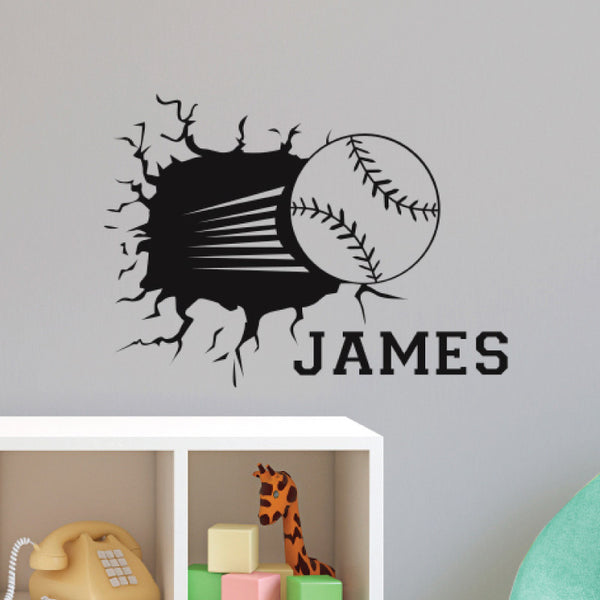 Personalized Baseball Smashing - Dana Decals - 1