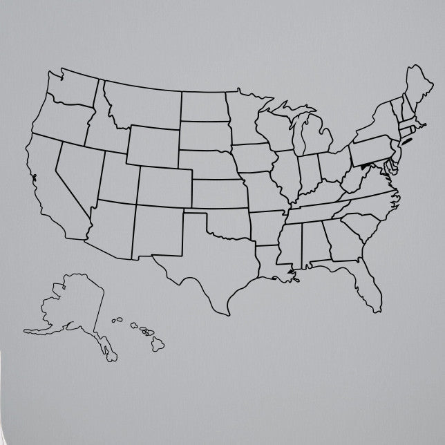 Outlined United States Map with Fill-In State Packs - Dana Decals - 1