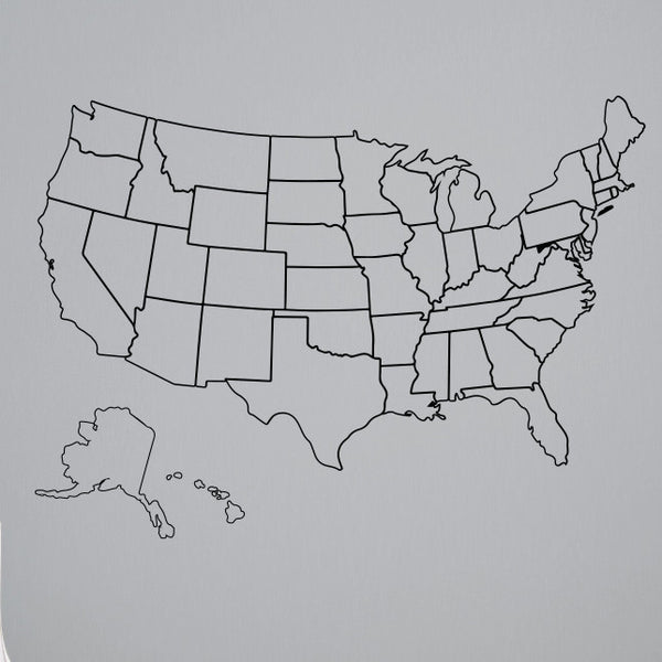 Outlined United States Map with Fill-In State Packs - Dana Decals