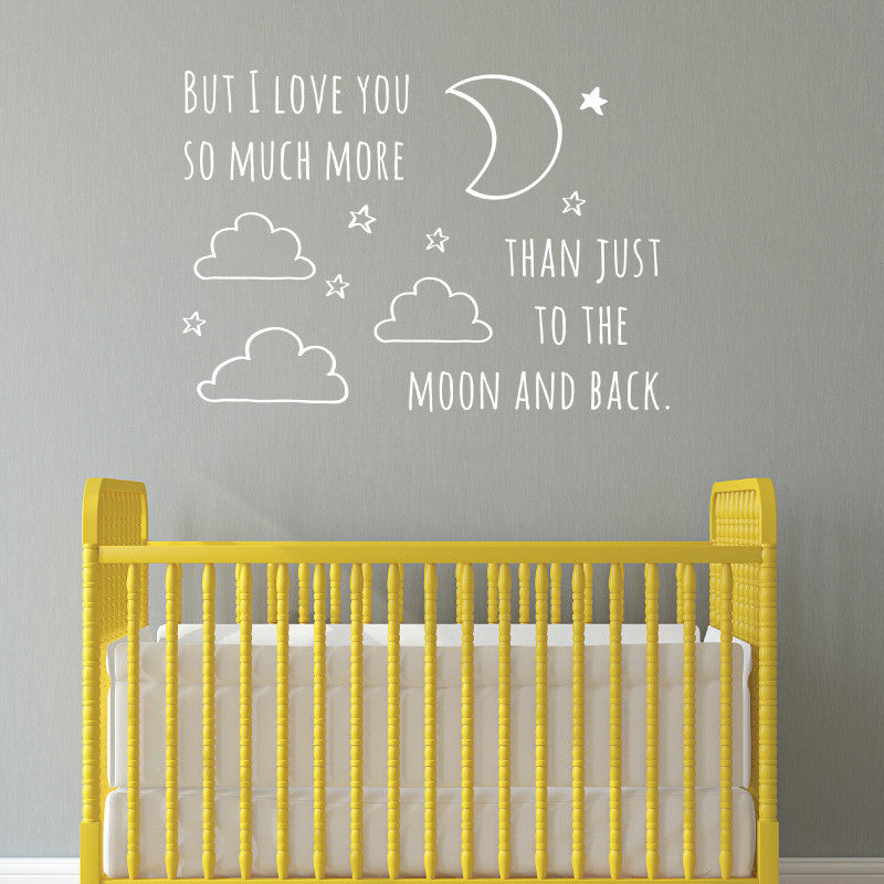 Moon And Back Doodle Quote - Dana Decals - 1