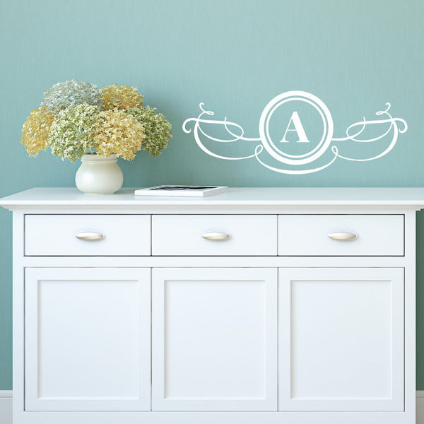 Modern Swirl Monogram Door Sign - Dana Decals - 1