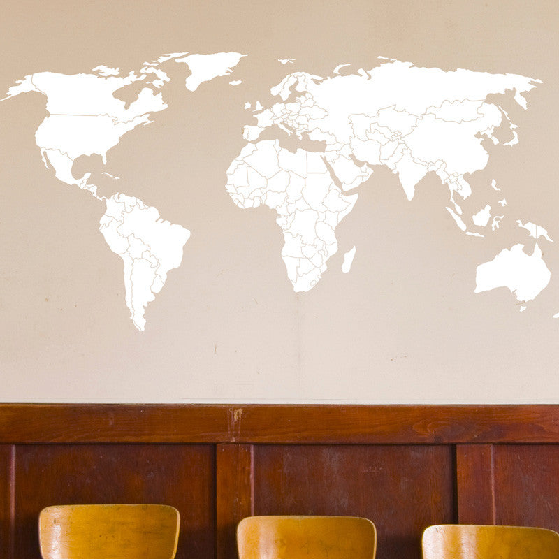 World Map with Outlined Countries - Dana Decals - 1