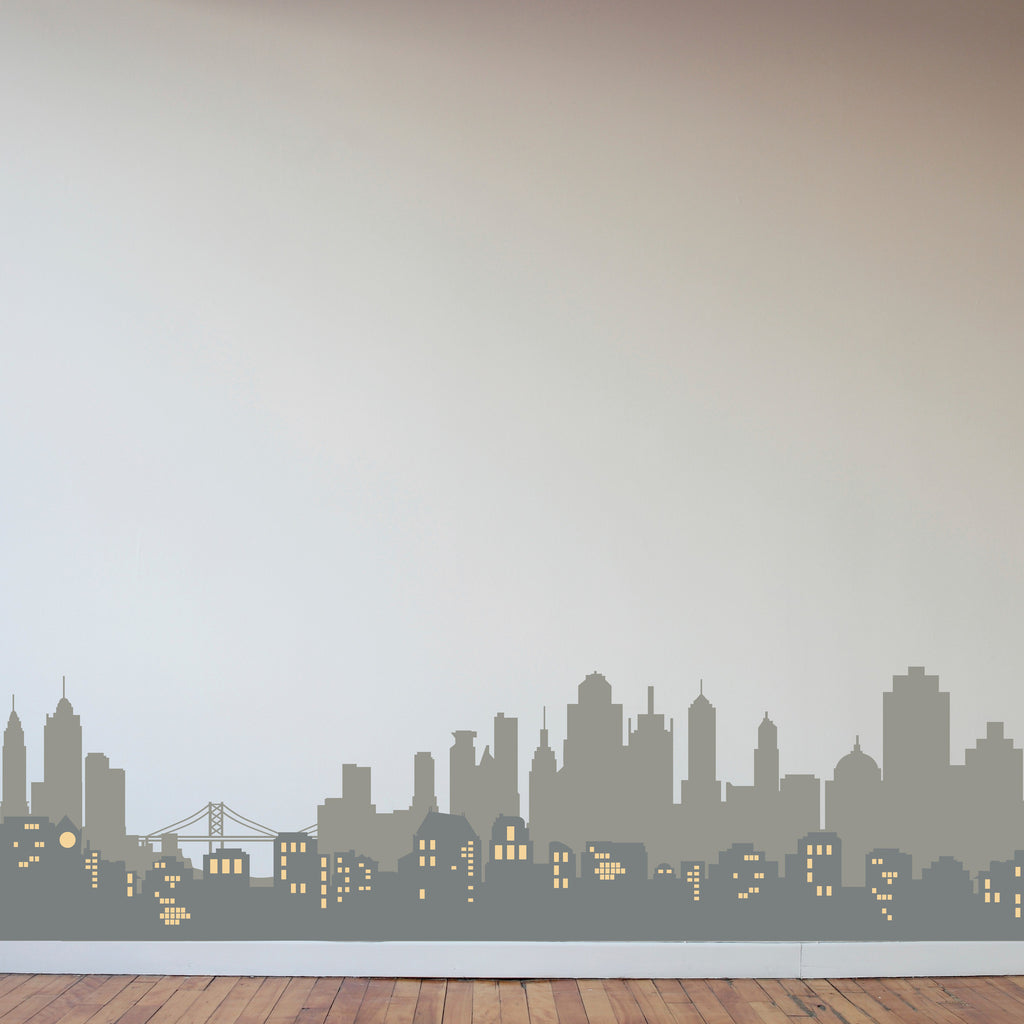 Layered City Skyline Silhouette with City Lights - Dana Decals - 1