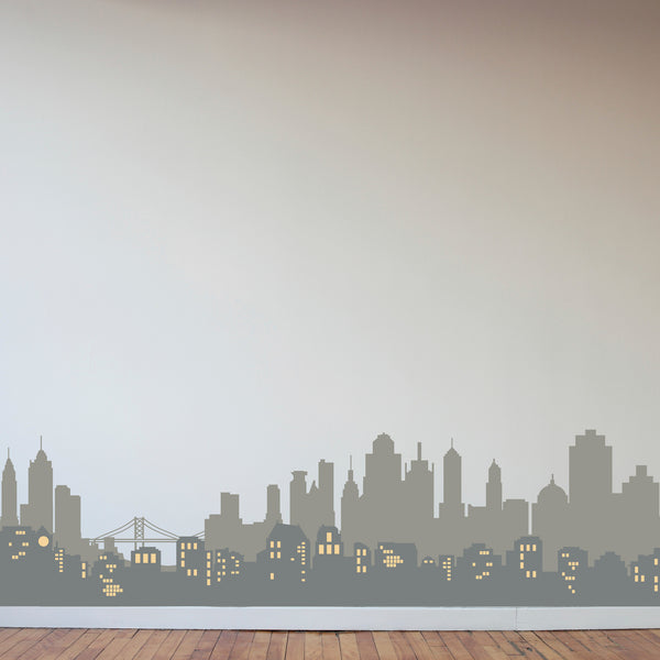 Layered City Skyline Silhouette with City Lights - Dana Decals
