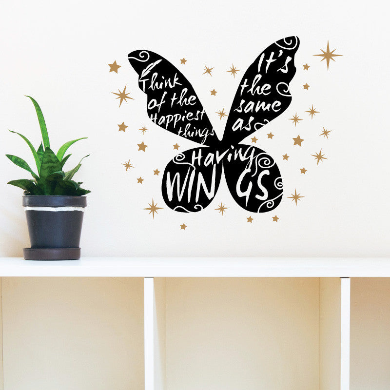 Happiest Things Peter Pan Quote Wings - Dana Decals - 1