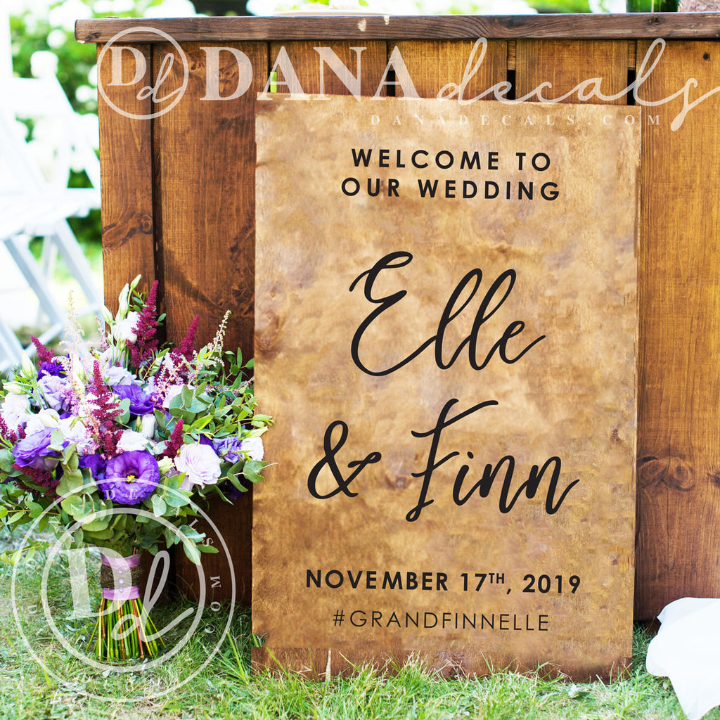 Custom Wedding Welcome Decal with Hashtag - Dana Decals