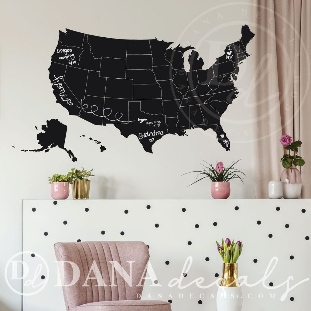 Chalkboard Wall Decal of USA Map - Dana Decals