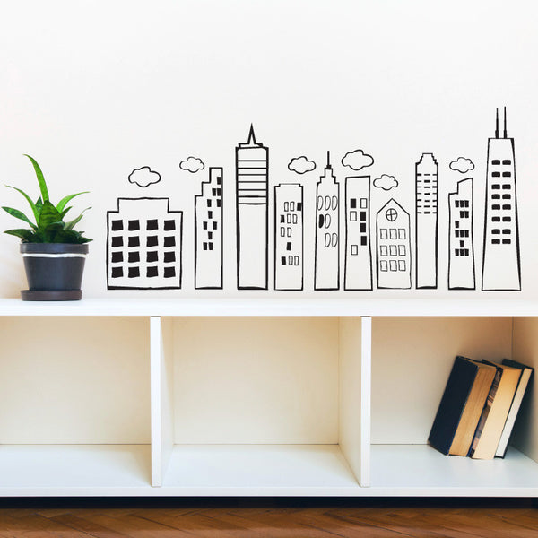 Whimsical Doodled City Skyline - Dana Decals
