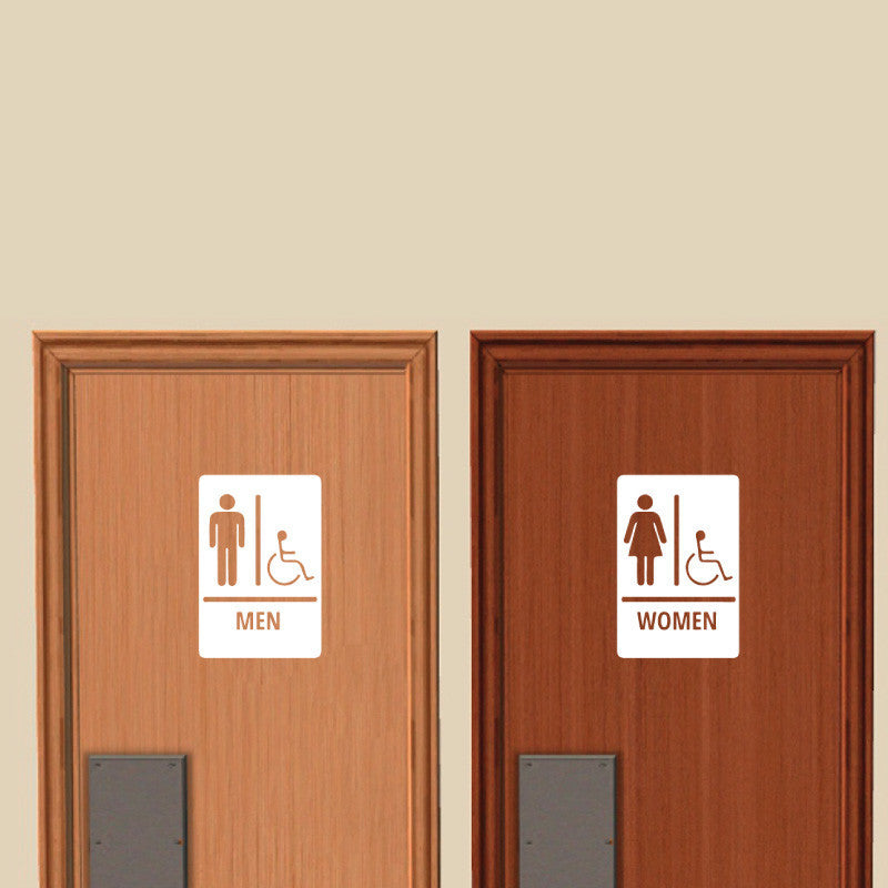 Men and Women Restroom Signs with International Symbol of Accessibility - Dana Decals - 1