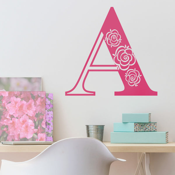 Decorative Rose Initial Letter - Dana Decals