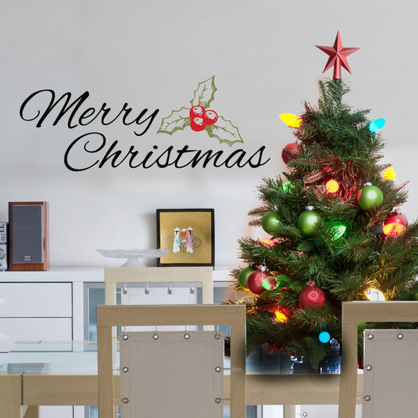 Merry Christmas with Holly Plant - Dana Decals - 1