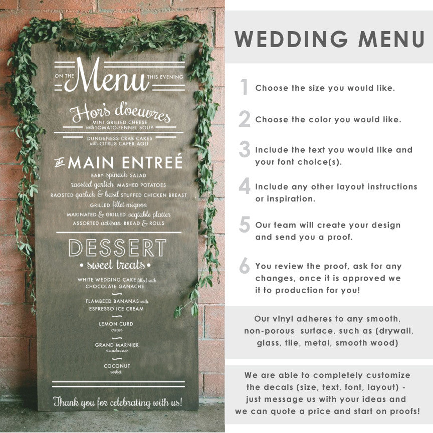 Wedding Menu Typography Sign - Dana Decals