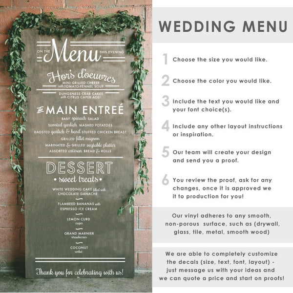 Wedding Menu Typography Sign - Dana Decals - 1