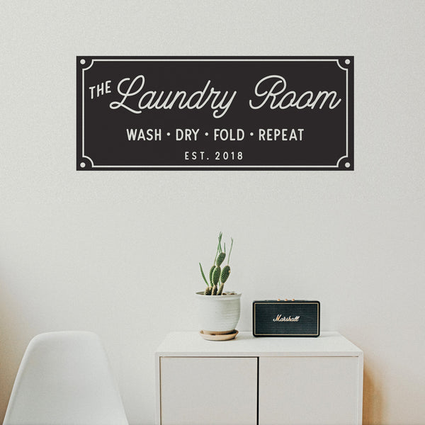 Laundry Room Established Sign - Dana Decals