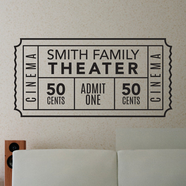 Personalized Family Movie Theater Ticket - Dana Decals