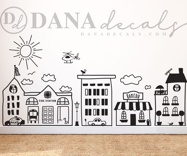 Doodled Small Town Skyline - Dana Decals