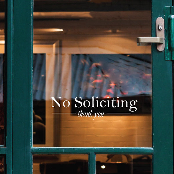 No Soliciting Thank You Door Sign - Dana Decals - 1