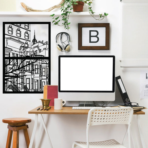 New York City Window Silhouette Scene - Dana Decals - 1